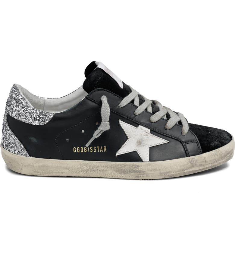 GOLDEN GOOSE Super-Star Low Top Sneaker, Main, color, BLACK/ WHITE/ SILVER