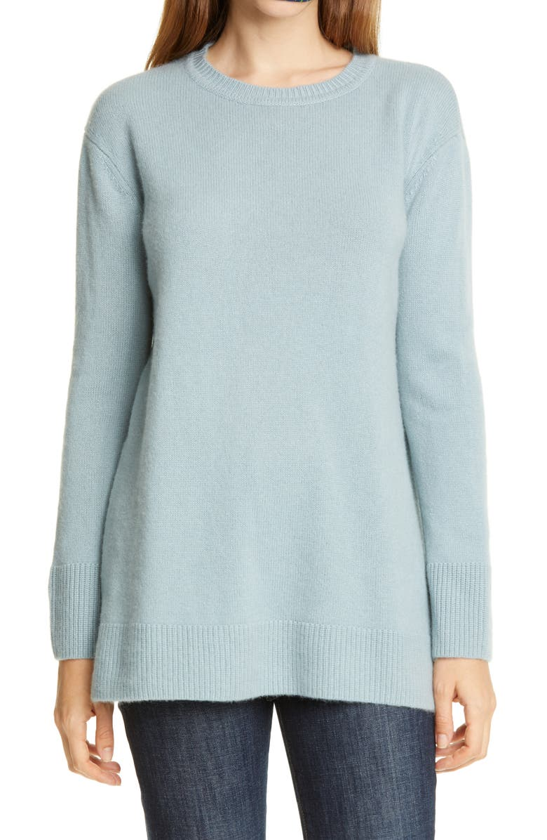 NORDSTROM SIGNATURE Cashmere Tunic Sweater, Main, color, BLUE ARONA