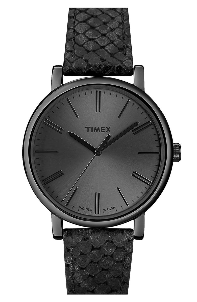 TIMEX<SUP>®</SUP> Round Leather Strap Watch, Main, color, 001