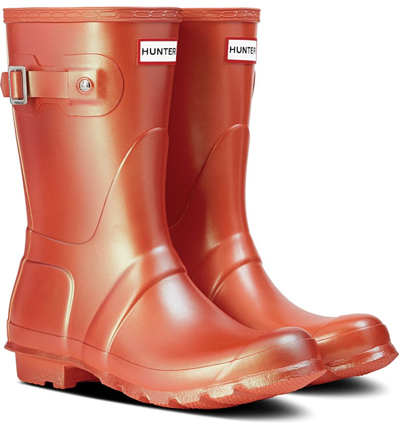 HUNTER Original Short Nebula Rain Boot, Main, color, ALPINE POPPY