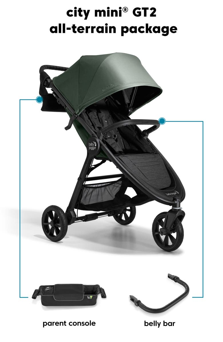 BABY JOGGER city mini<sup>®</sup> GT2 All-Terrain Stroller, Parent Console & Belly Bar Package, Main, color, BLACK/ GREEN