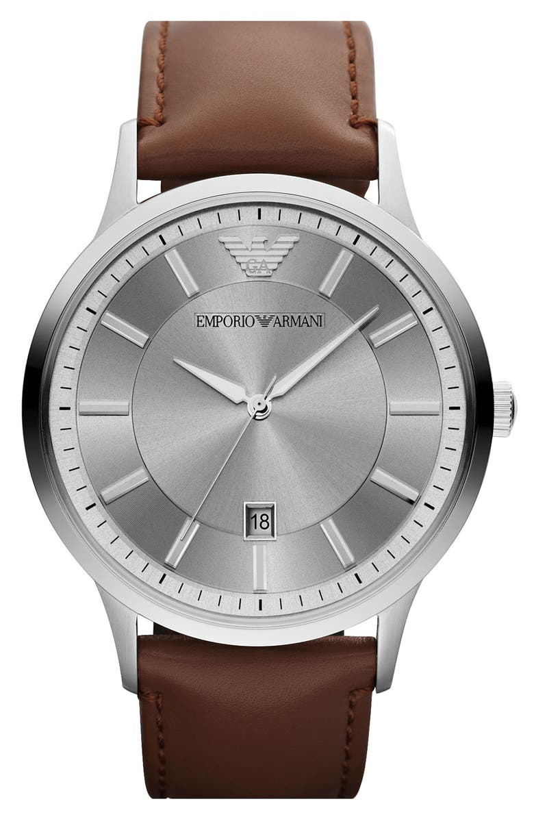 EMPORIO ARMANI Round Leather Strap Watch, 43mm, Main, color, 200