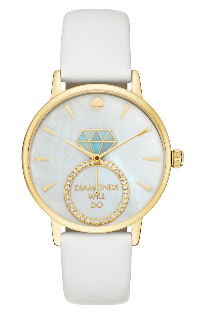 KATE SPADE NEW YORK metro wish leather strap watch, 34mm, Main, color, 100