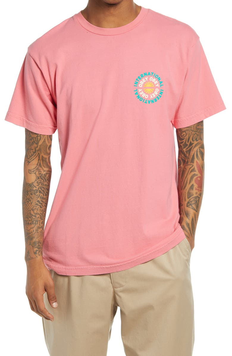 OBEY Men's Supply & Demand Graphic Tee, Main, color, PINK LIFT