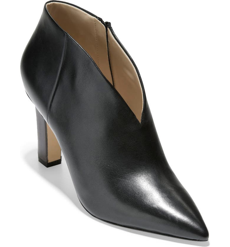 COLE HAAN Viana Pointed Toe Bootie, Main, color, BLACK PRINCESS LEATHER