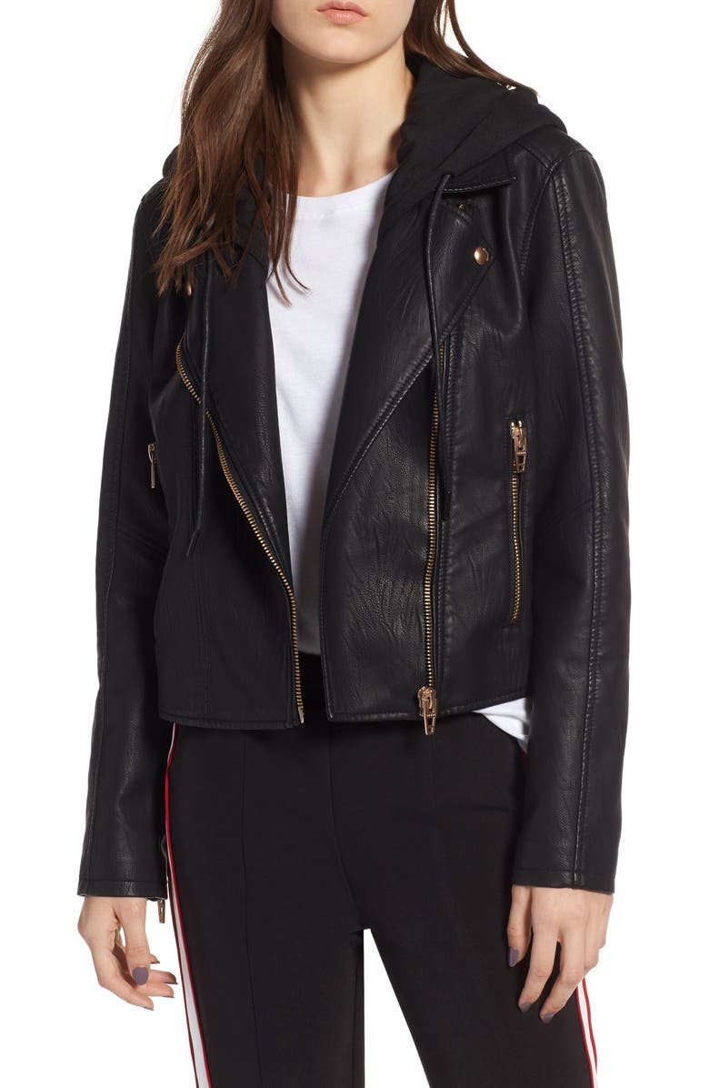 BLANKNYC Meant to Be Moto Jacket with Removable Hood, Main, color, BLACK