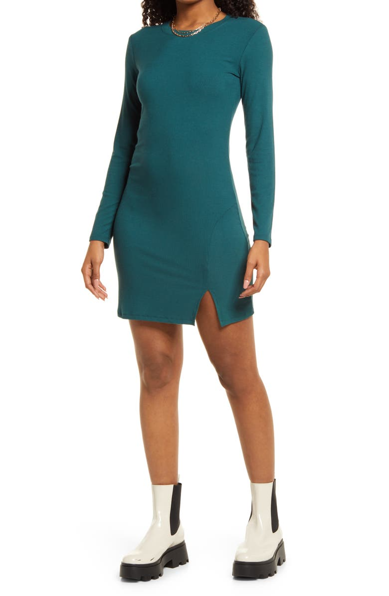 BP. Fitted Slit Long Sleeve Rib Dress, Main, color, GREEN MOSS
