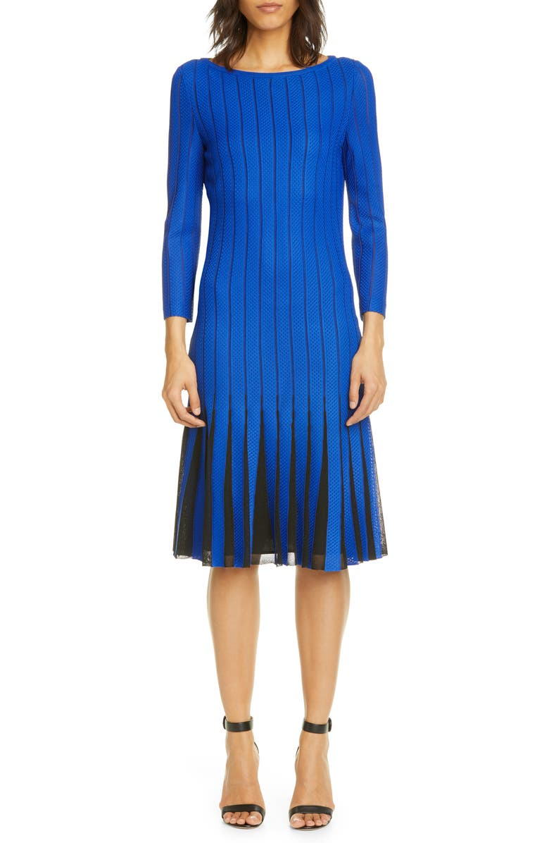 ST. JOHN COLLECTION Perforated Knit Dress, Main, color, ELECTRIC BLUE