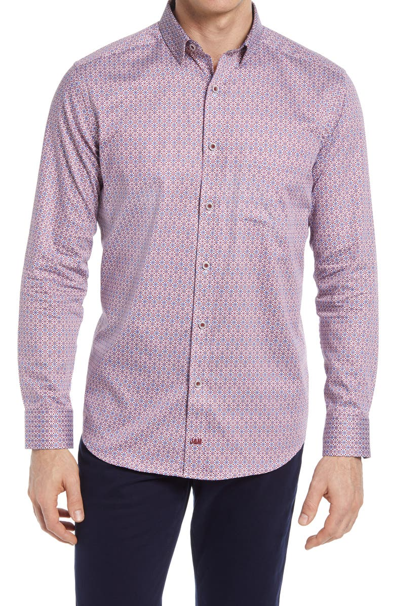 JOHNSTON & MURPHY Moroccan Tile Print Button-Up Shirt, Main, color, RED