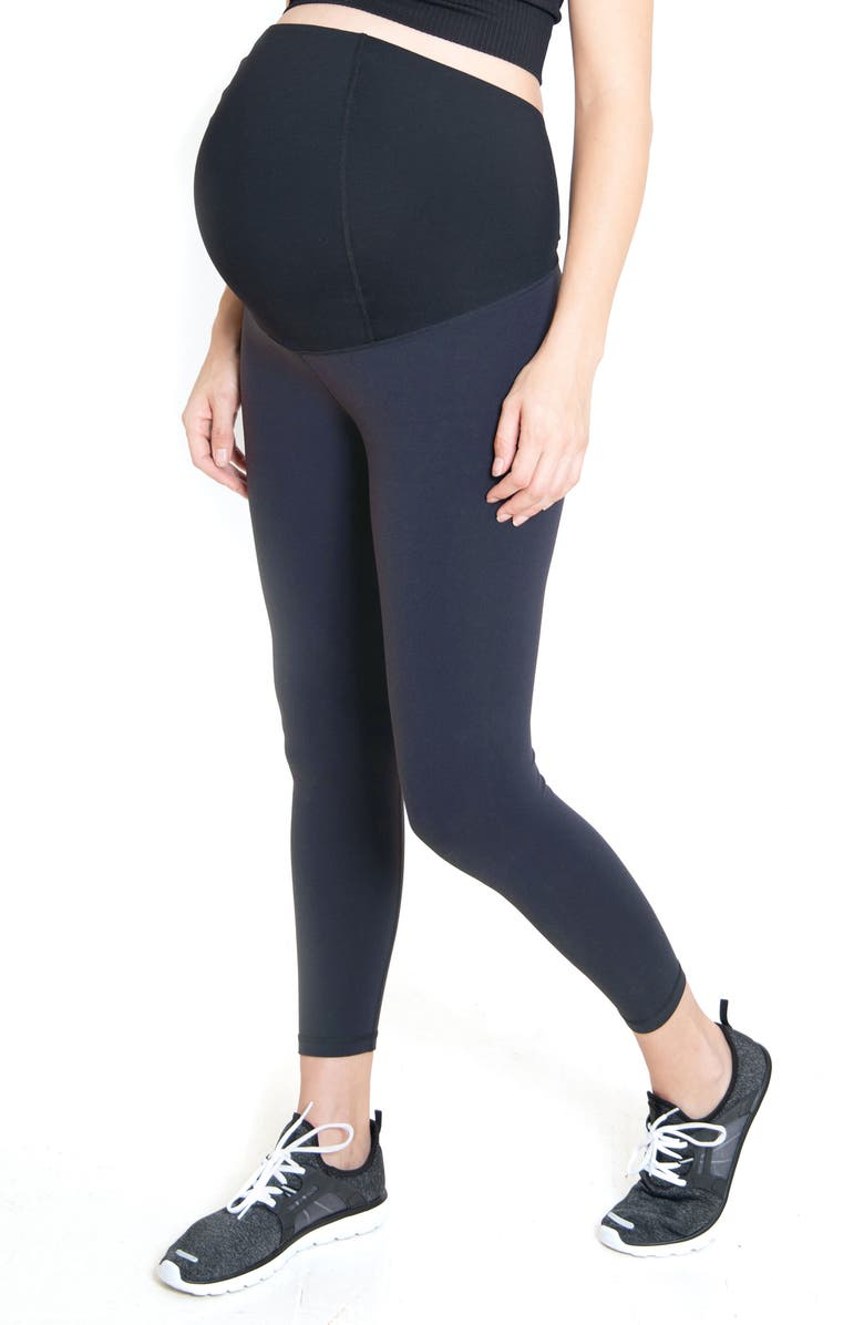 INGRID & ISABEL<SUP>®</SUP> Crossover Panel<sup>®</sup> Waist 7/8 Active Maternity Leggings, Main, color, METAL
