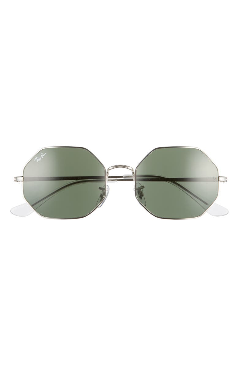 RAY-BAN 1972 54mm Octagon Sunglasses, Main, color, SILVER/ GREEN SOLID