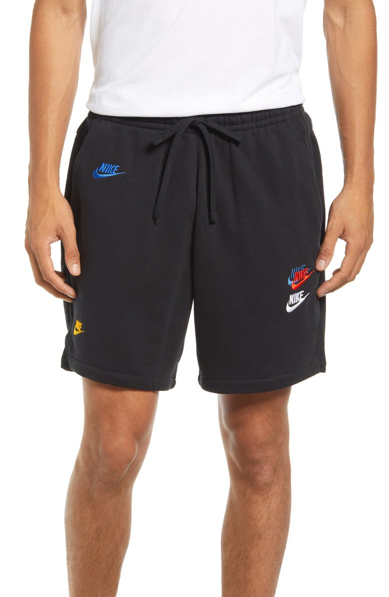 NIKE Sportswear Essentials+ Embroidered Swooshes Sweat Shorts, Main, color, BLACK/ BLACK