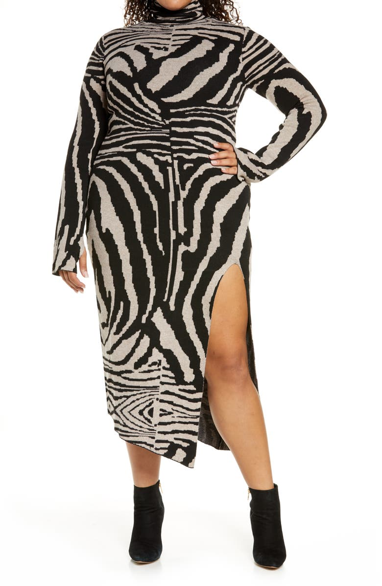 AFRM Animal Stripe Turtleneck Sweater Dress, Main, color, BROWN/ NOIR ZEBRA