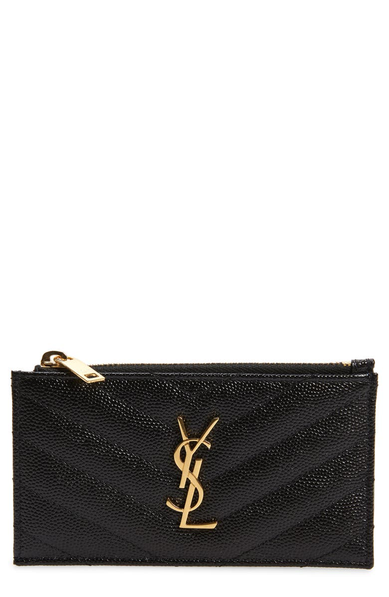 SAINT LAURENT Pebbled Leather Zip Card Case, Main, color, 001