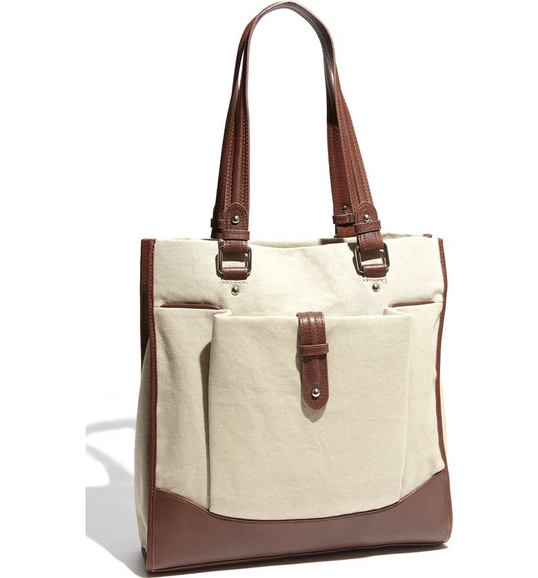 HALOGEN<SUP>®</SUP> Vertical Canvas & Leather Tote, Main, color, 101