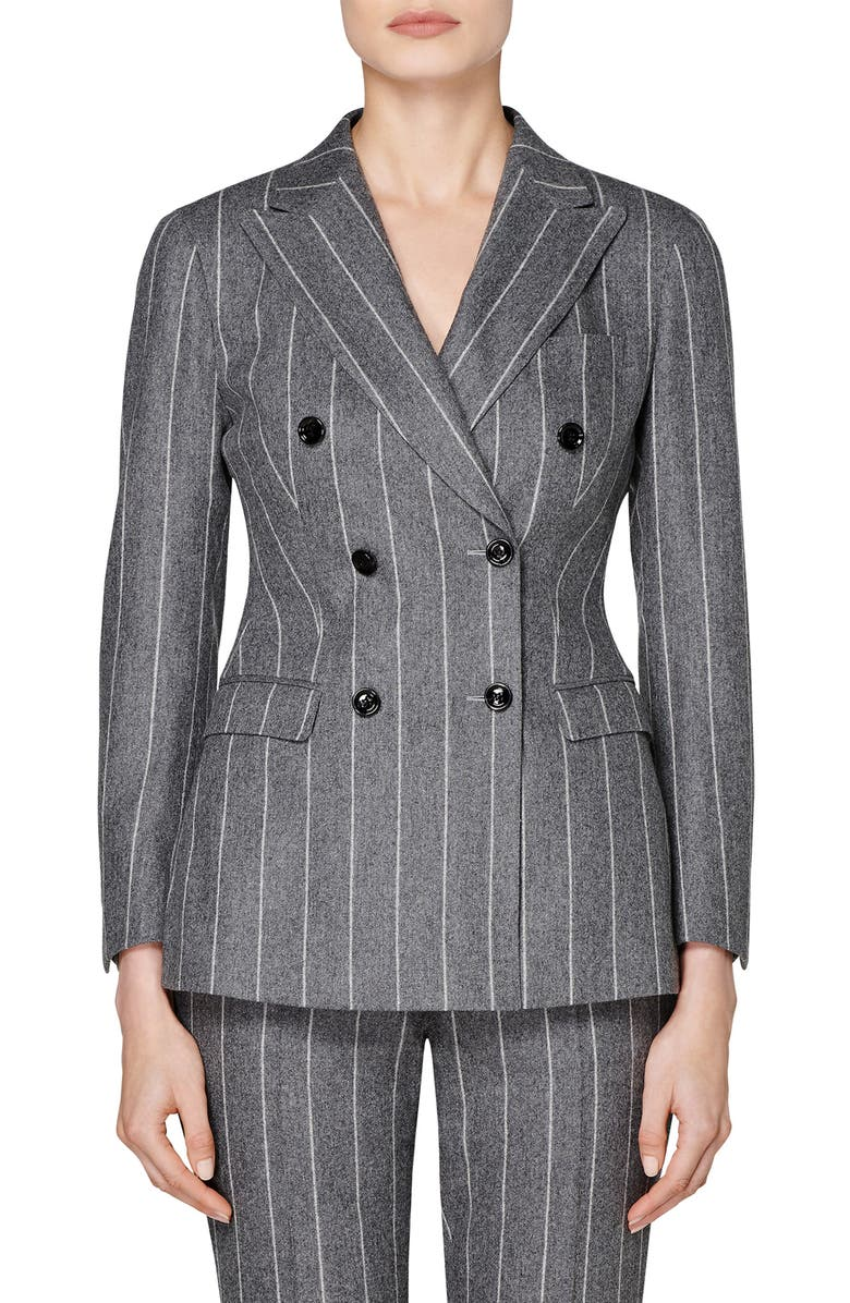 SUISTUDIO Cameron Chalk Stripe Double Breasted Wool Jacket, Main, color, 080