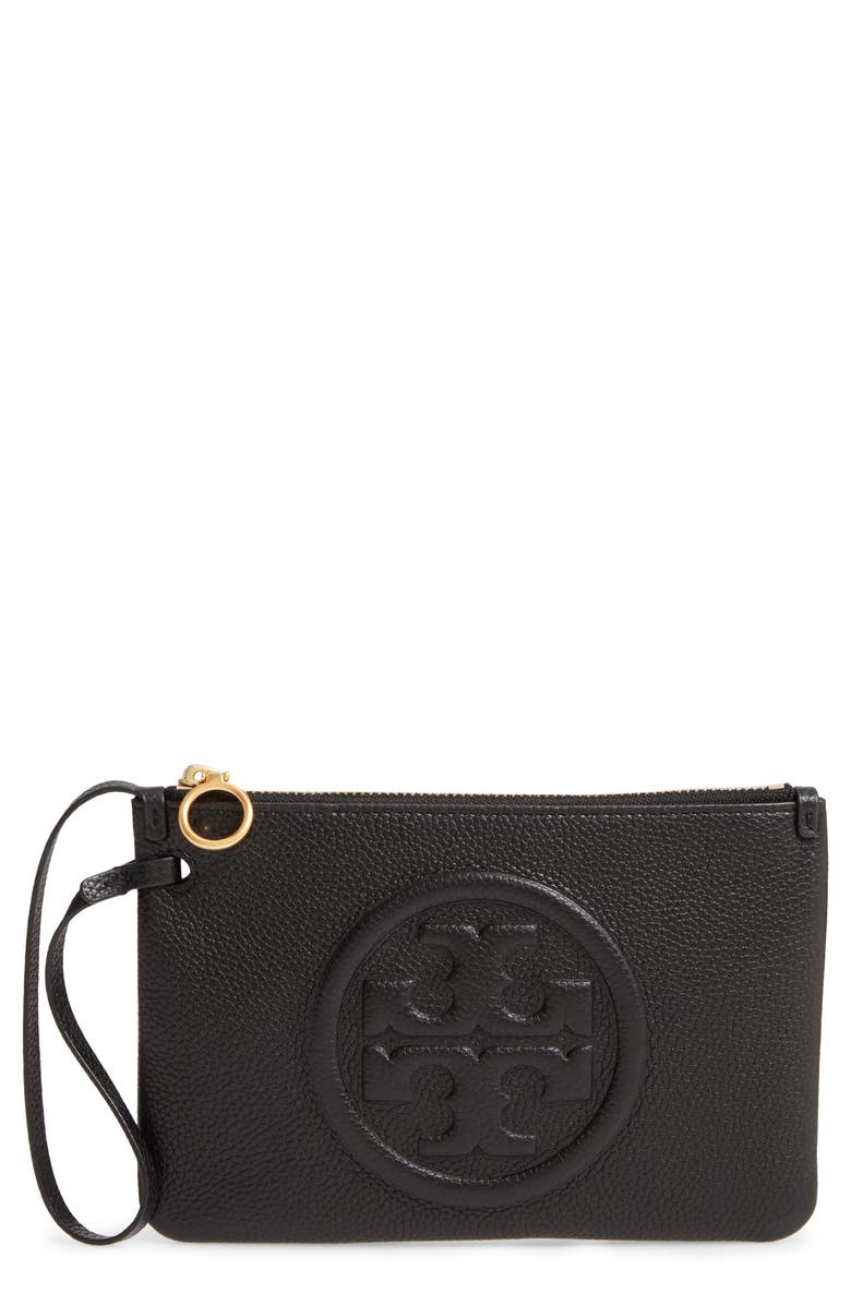 TORY BURCH Perry Leather Wristlet, Main, color, 001