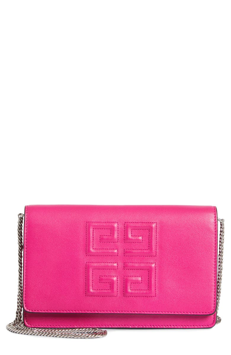 GIVENCHY Embossed Emblem Wallet on a Chain, Main, color, 678