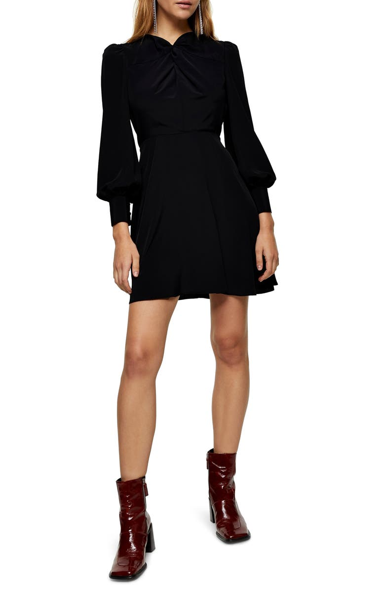 TOPSHOP Twist Neck Long Sleeve Minidress, Main, color, BLACK MULTI