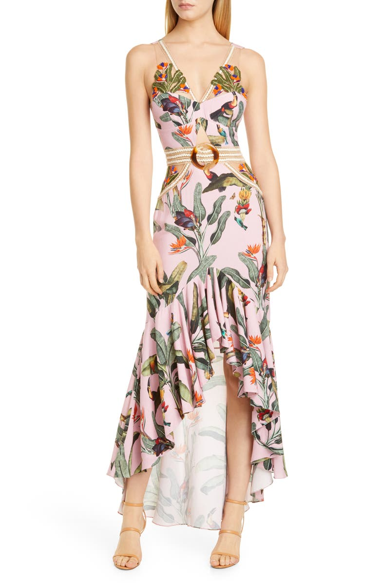 PATBO Tropical Cutout High/Low Gown, Main, color, 679