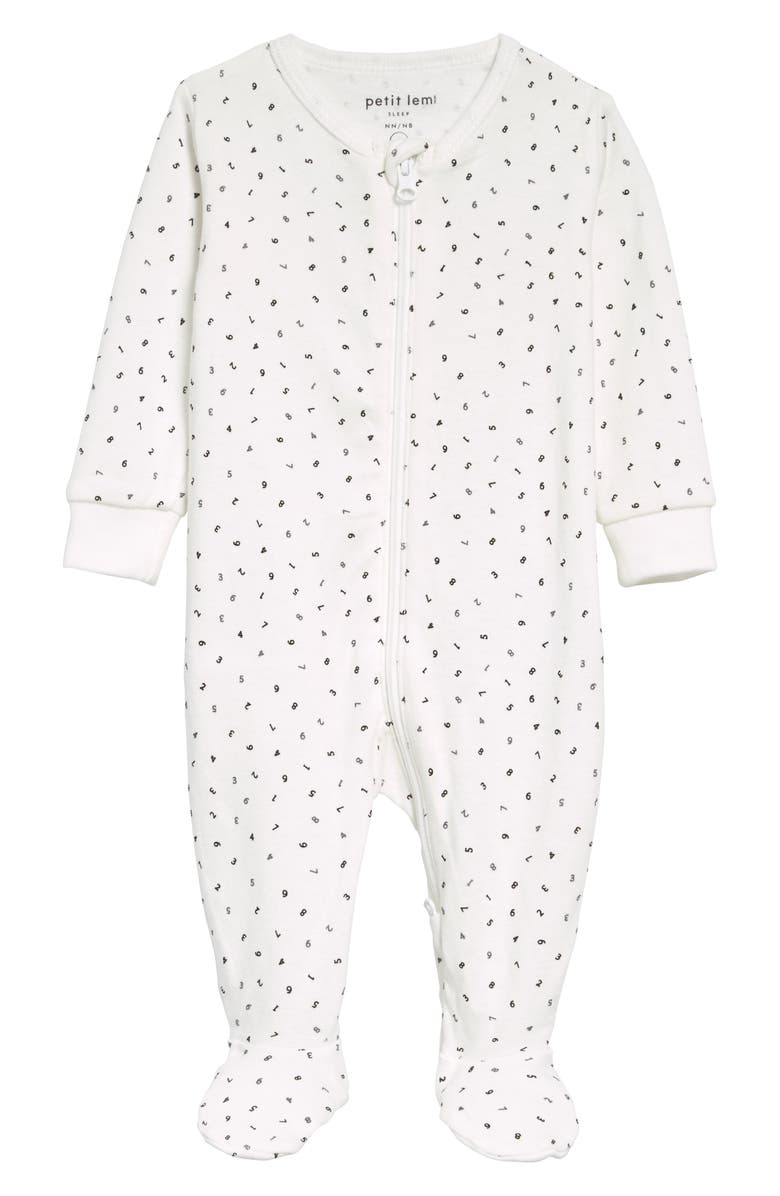 PETIT LEM Numbers Print Organic Cotton Fitted One-Piece Pajamas, Main, color, OFF WHITE