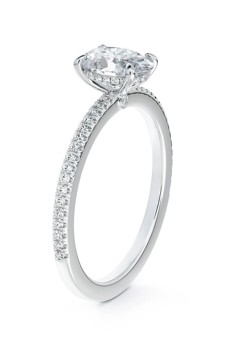 FOREVERMARK x Micaela Simply Solitaire Oval Diamond Engagement Ring with Diamond Band, Main, color, PLATINUM-D0.70CT