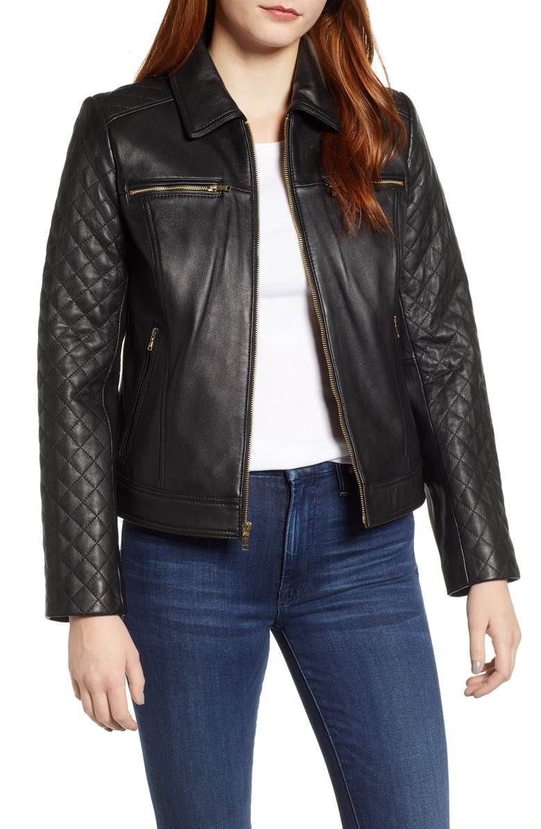 COLE HAAN Quilted Lambskin Leather Jacket, Main, color, 001