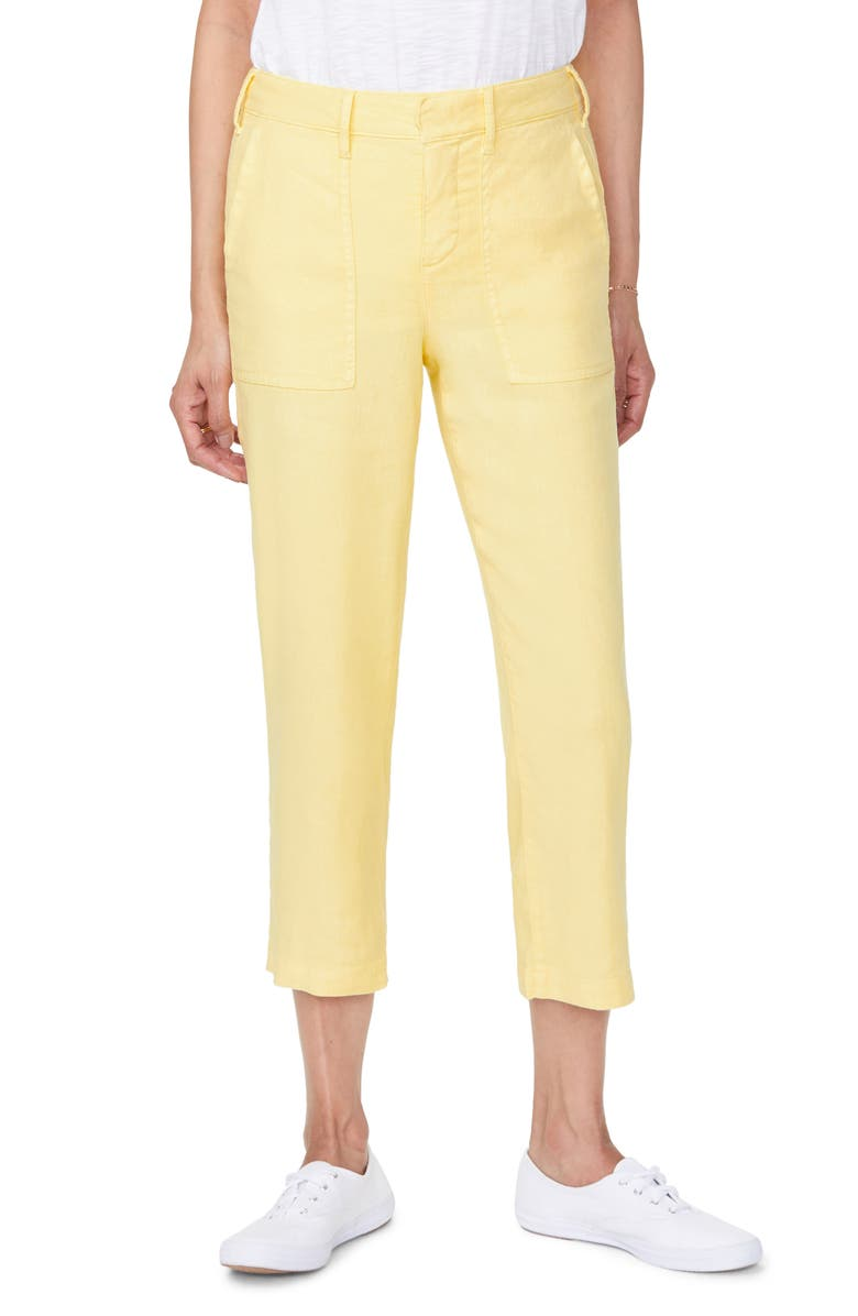 NYDJ Utility Crop Linen Blend Pants, Main, color, SUNSHINE