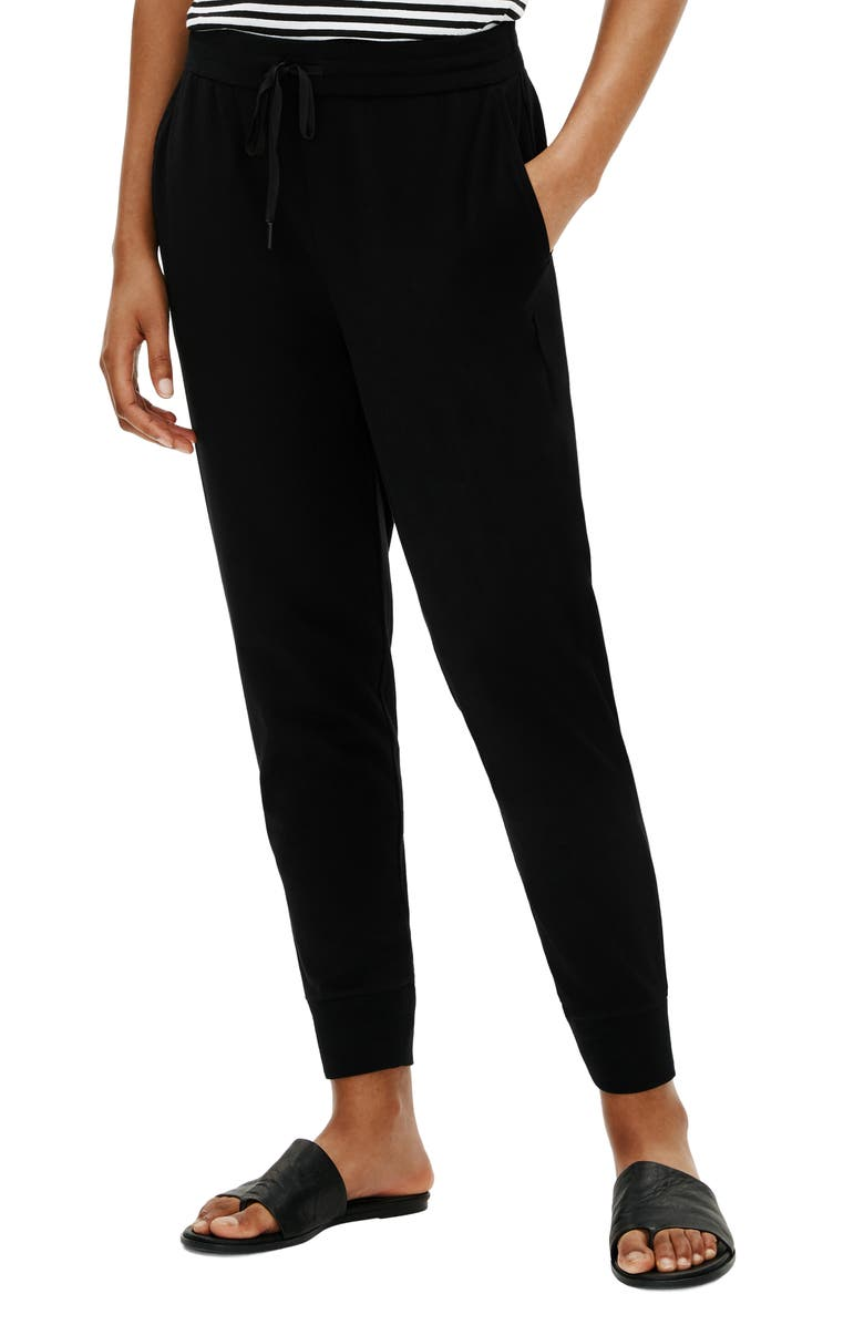 EILEEN FISHER Slouchy Ankle Joggers, Main, color, 001
