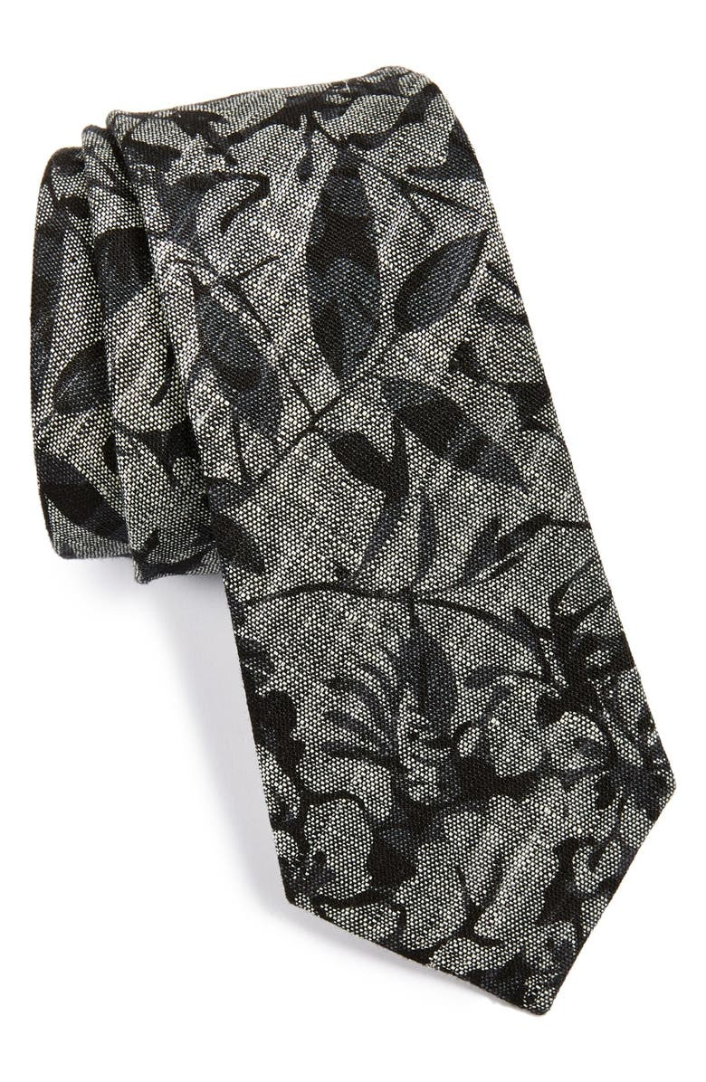 W.R.K Floral Linen Tie, Main, color, 001
