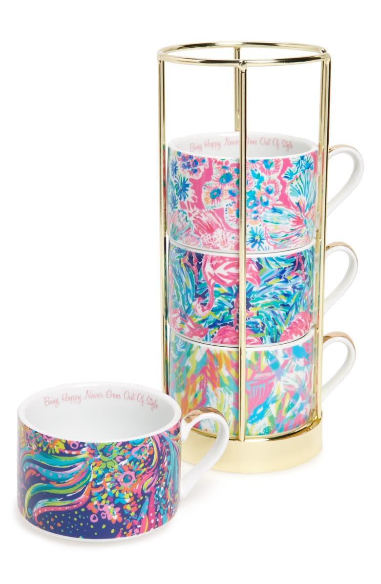LILLY PULITZER<SUP>®</SUP> Set of 4 Cappuccino Mugs, Main, color, 400