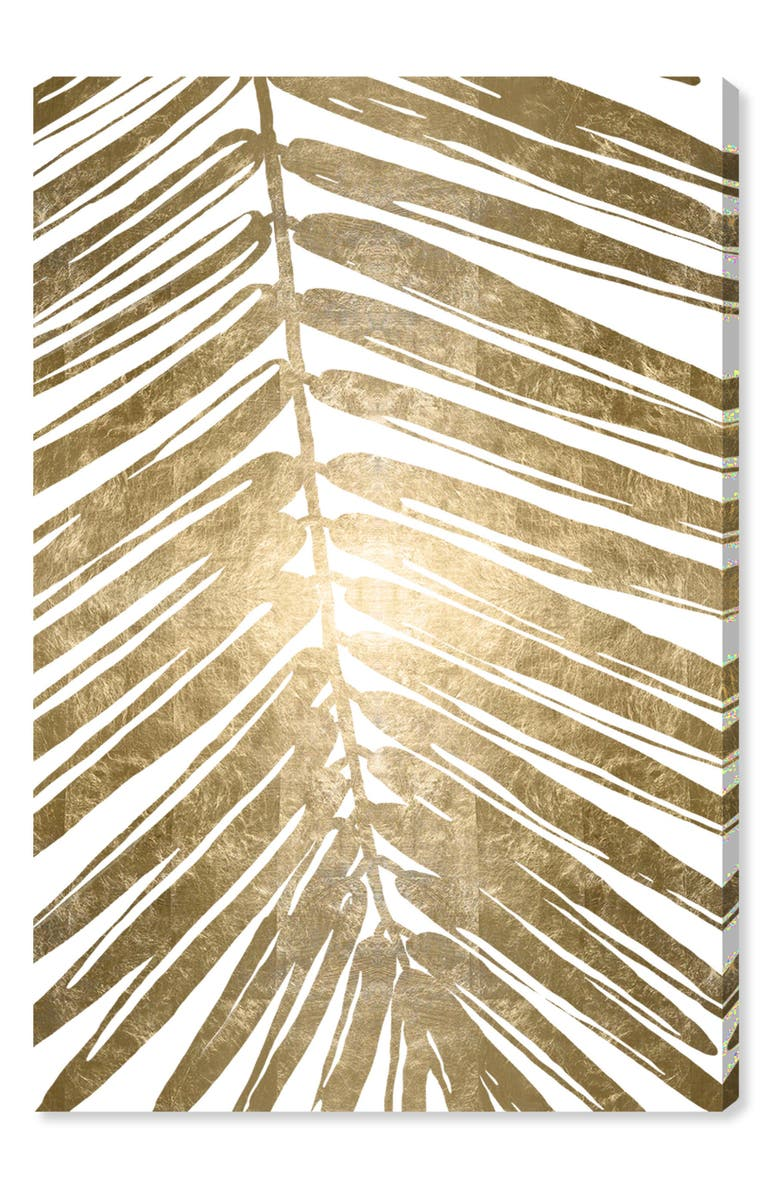 OLIVER GAL Gold Tropical Leaves IV Canvas Wall Art, Main, color, METALLIC GOLD