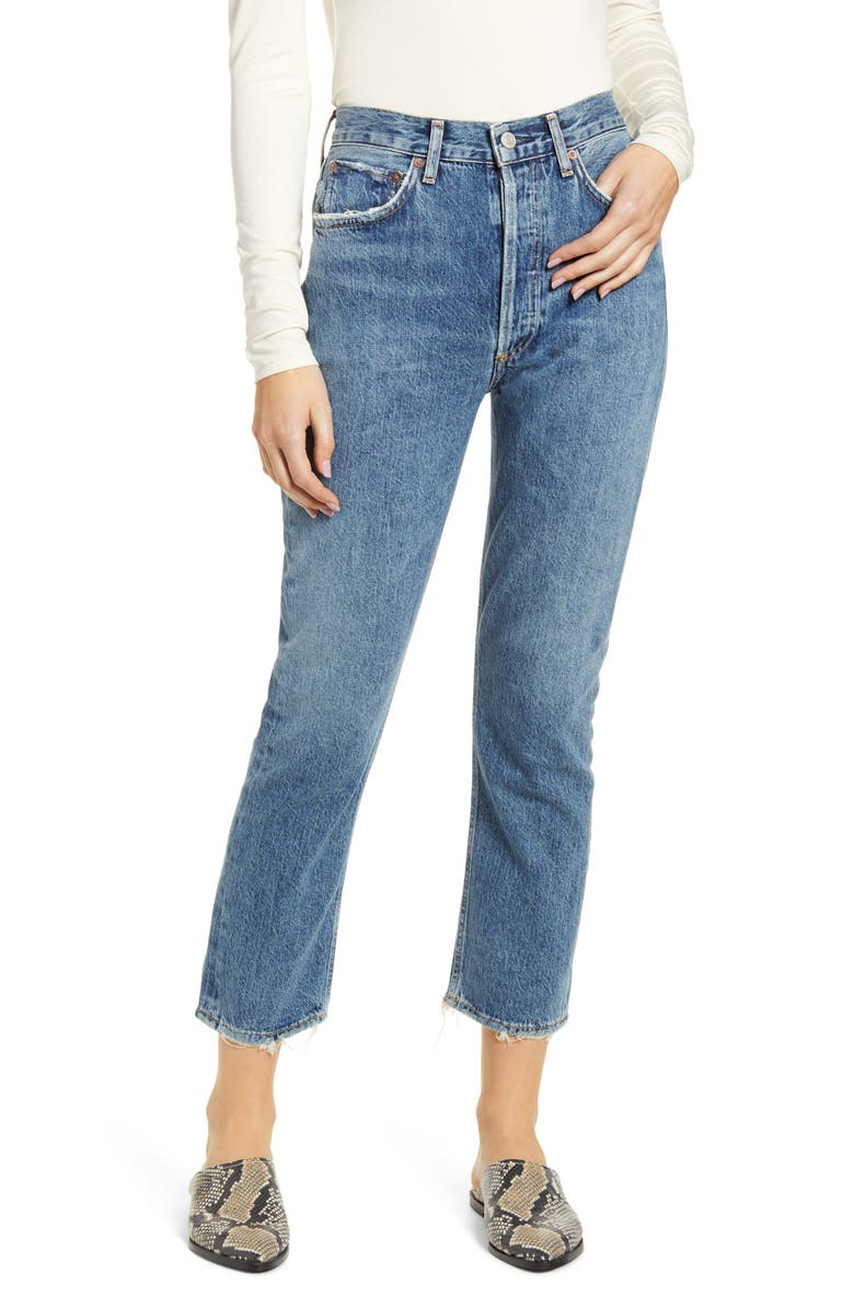 AGOLDE Riley High Waist Crop Straight Leg Jeans, Main, color, FREQUENCY