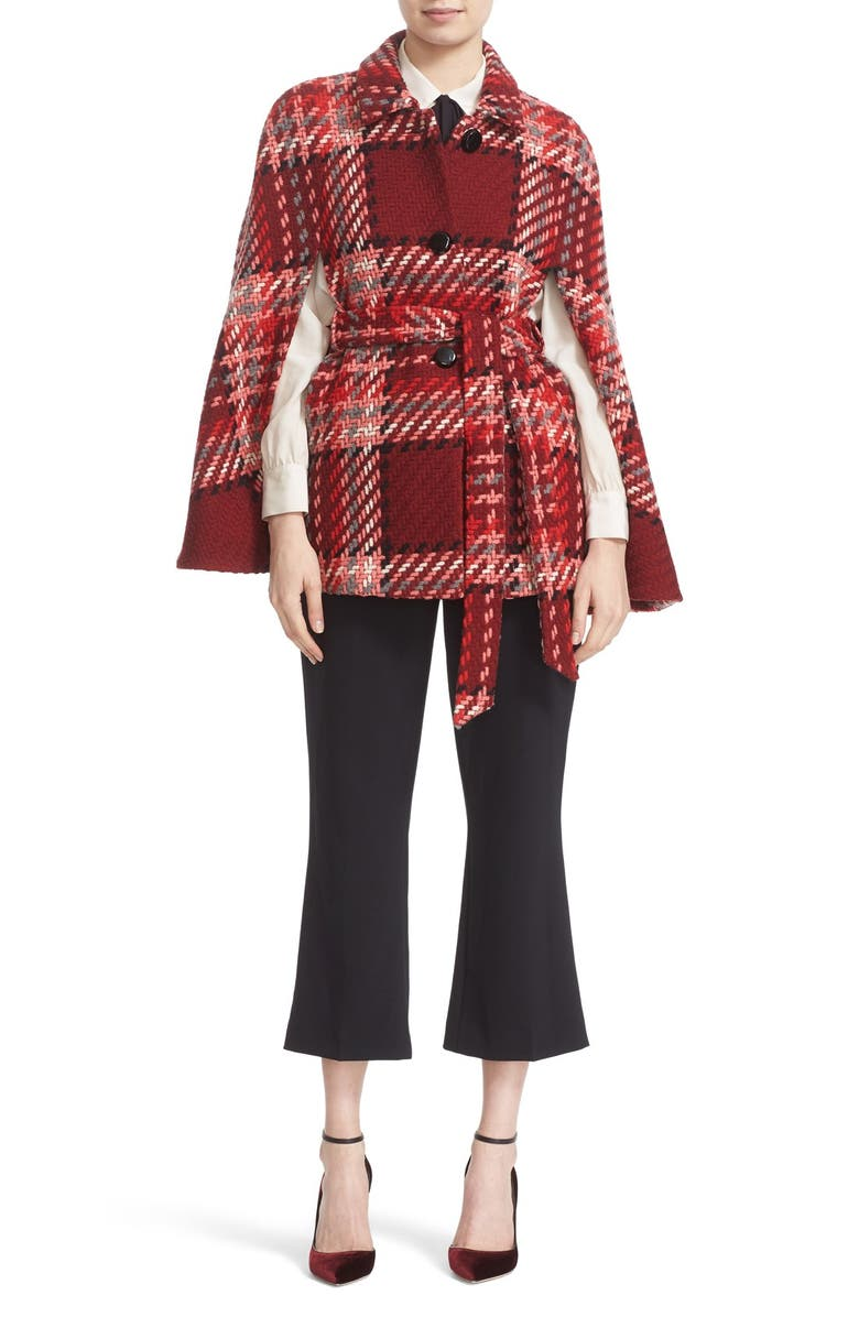 KATE SPADE NEW YORK chunky plaid belted wool blend cape, Main, color, 617