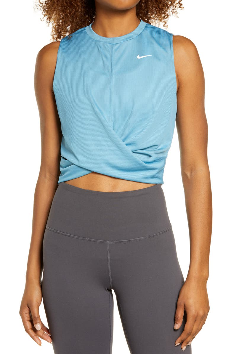 NIKE Dry Crop Twist Training Top, Main, color, CERULEAN/ WHITE