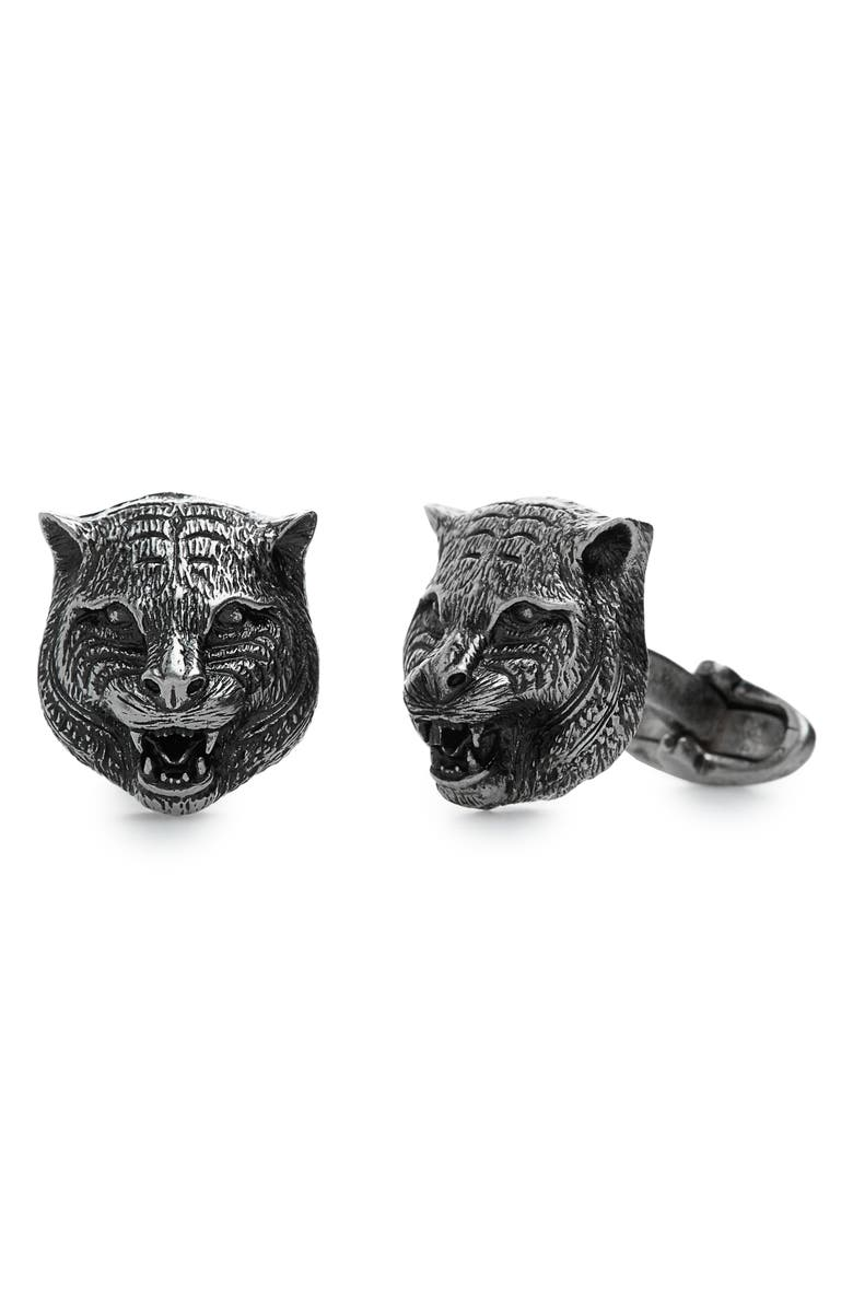 GUCCI Feline Head Cuff Links, Main, color, 040