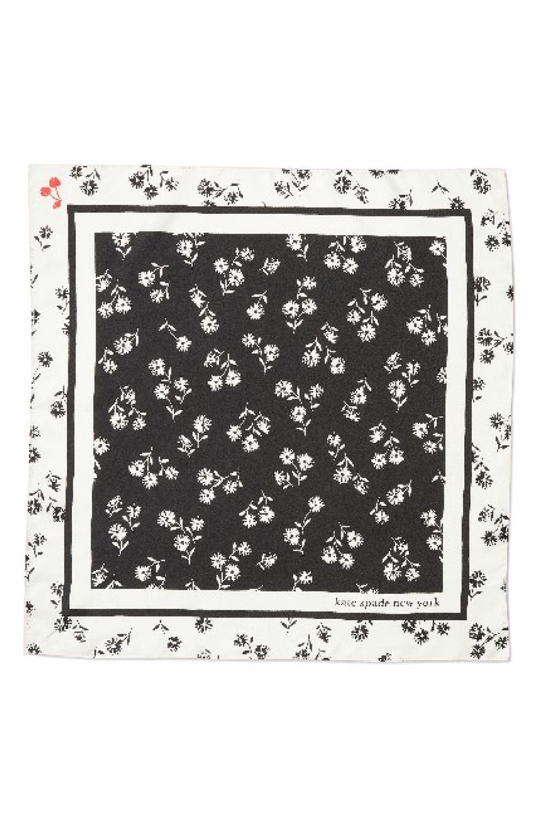 KATE SPADE NEW YORK dandelion floral silk bandana scarf, Main, color, BLACK