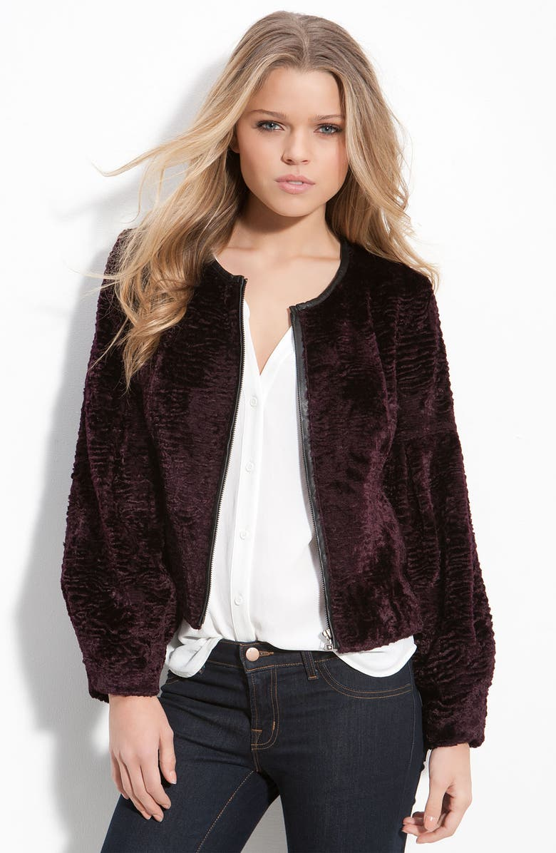 TROUVÉ Dyed Faux Shearling Cropped Jacket, Main, color, 500