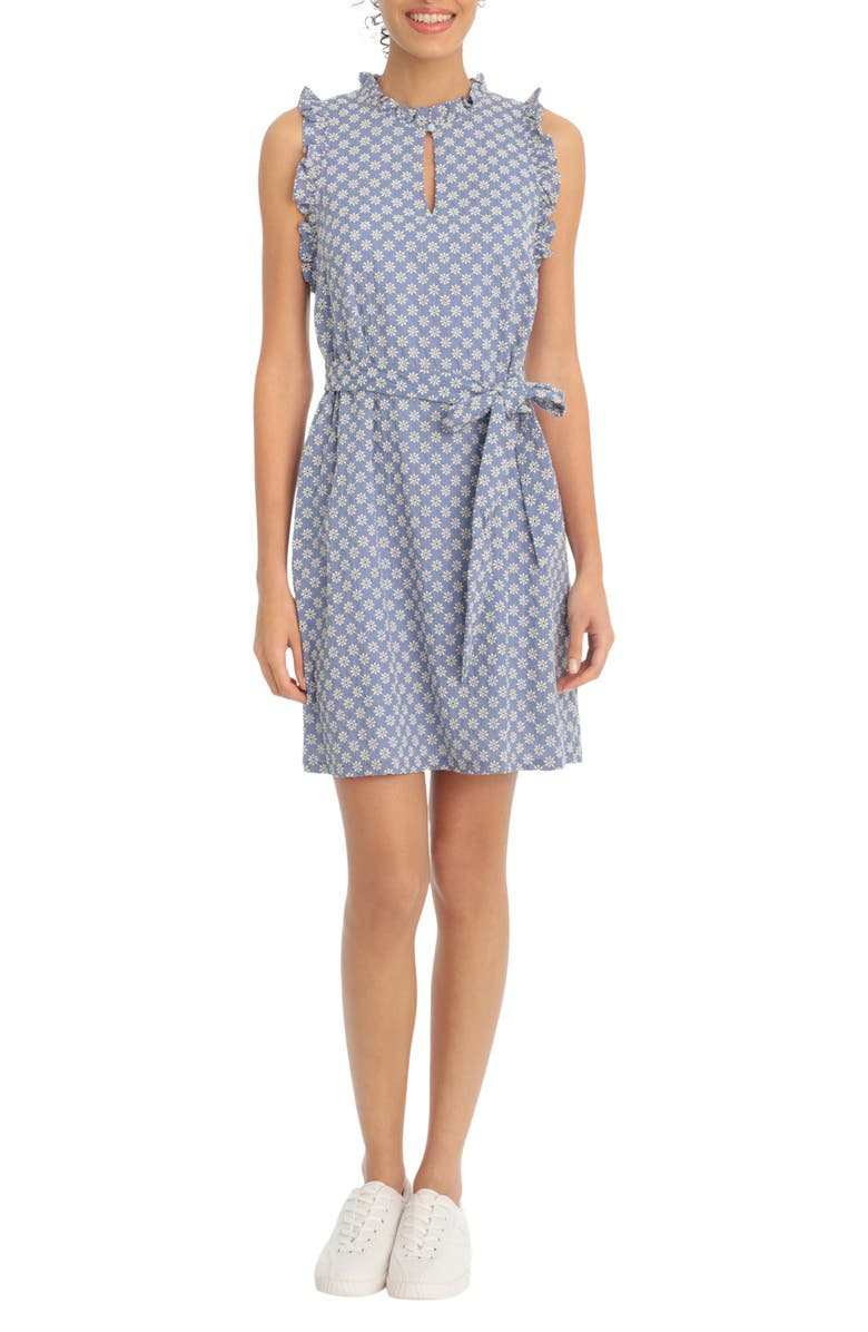 LONDON TIMES Daisy Eyelet Belted Shift Dress, Main, color, CHAMBRAY/IVORY