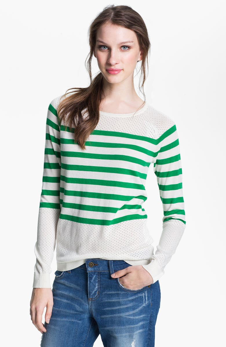 CASLON<SUP>®</SUP> Stripe Pointelle Sweater, Main, color, TAYLOR IVORY/ GREEN CLOVER
