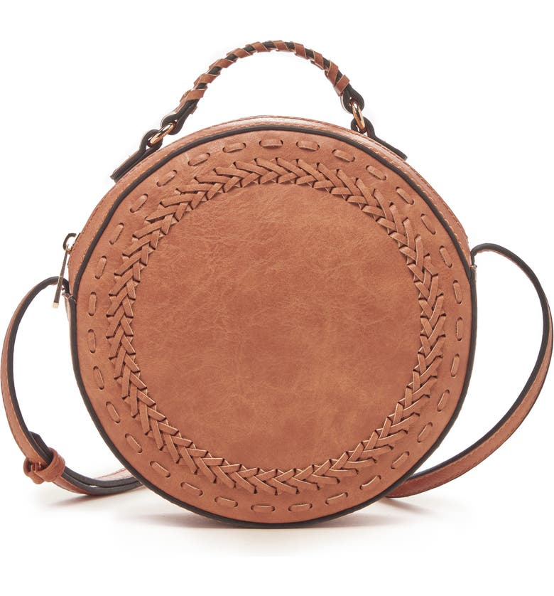 SOLE SOCIETY Anora Faux Leather Crossbody Bag, Main, color, CANYON