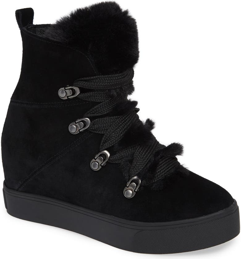 JSLIDES Whitney Faux Fur Trim High Top Sneaker, Main, color, 002