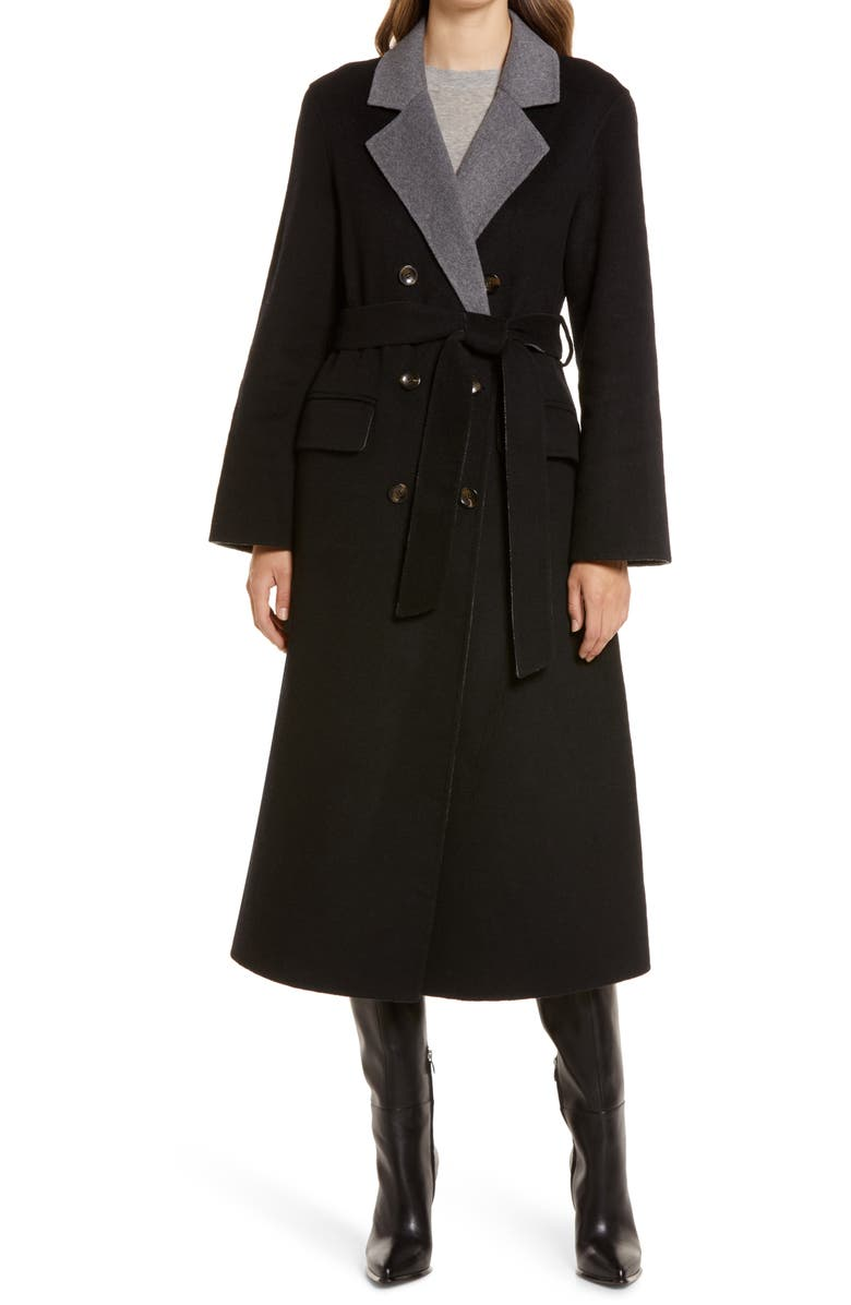 NORDSTROM Belted Double Breasted Coat, Main, color, BLACK/ GREY HEATHER