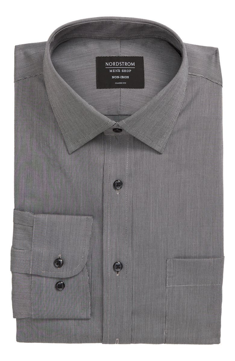 NORDSTROM MEN'S SHOP Nordstrom Classic Fit Non-Iron Solid Dress Shirt, Main, color, GREY CASTLEROCK