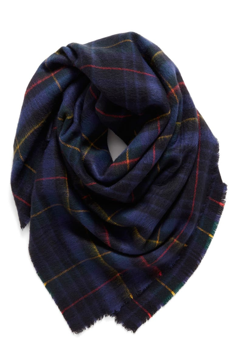SHIRALEAH 'Anya' Plaid Oversize Square Scarf, Main, color, 410