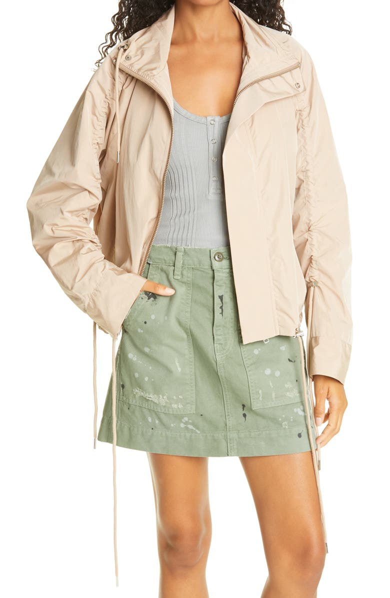 NSF CLOTHING Ayay Shirred Jacket, Main, color, BEIGE