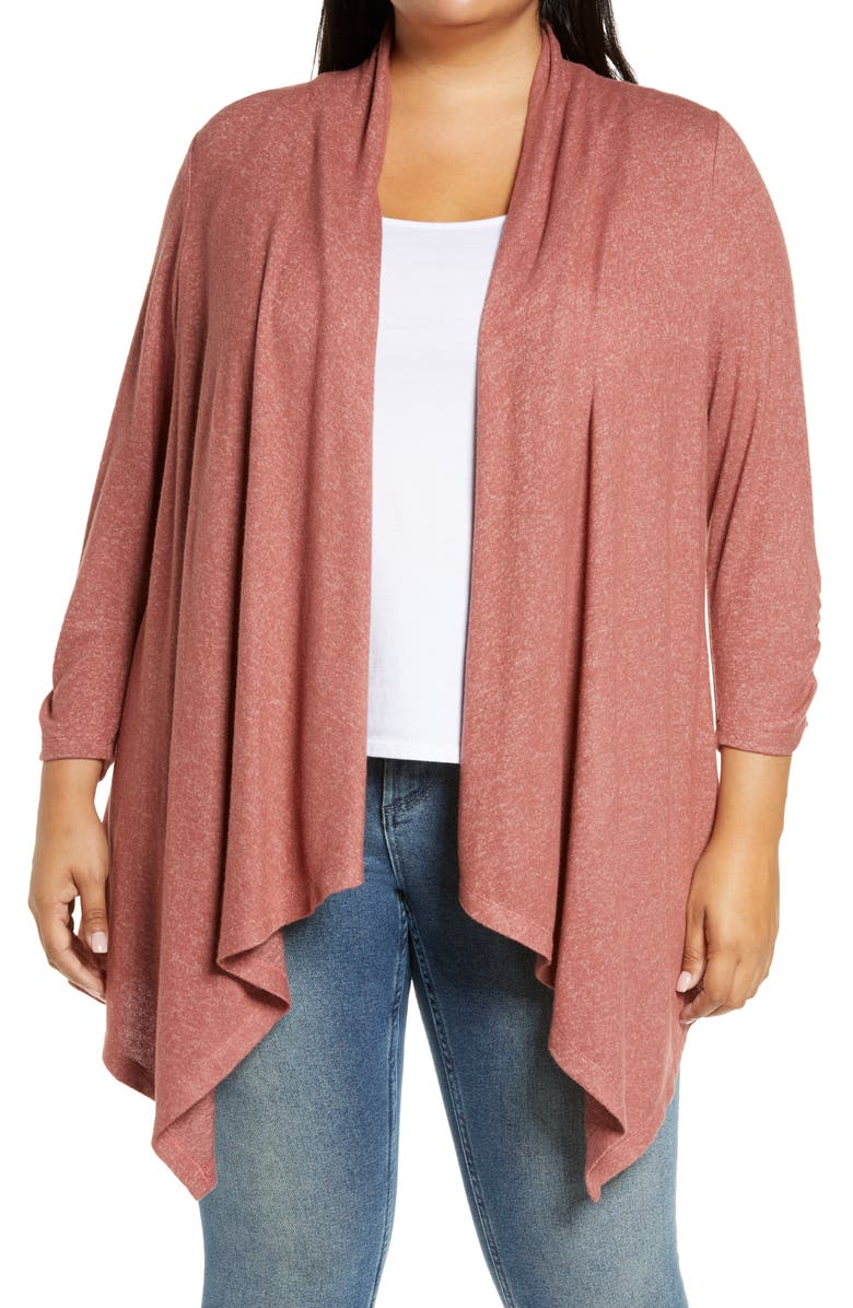 BOBEAU Cozy Drape Front Cardigan, Main, color, WITHERED ROSE