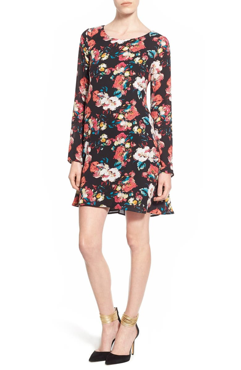 LEITH Floral Print Swing Dress, Main, color, 001