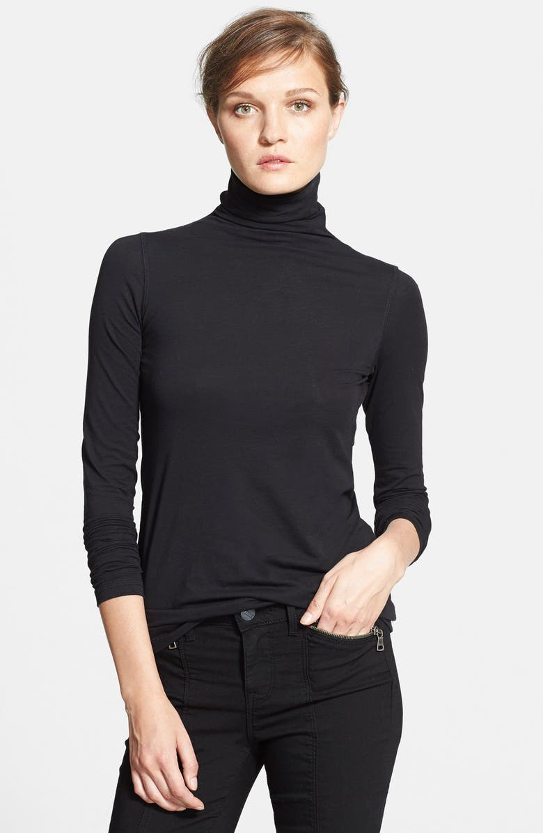 VINCE 'Favorite' Soft Cotton Turtleneck, Main, color, 001
