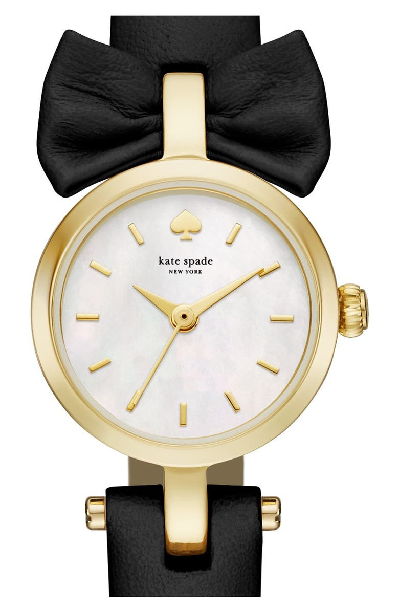 KATE SPADE NEW YORK 'tiny metro - bow' leather strap watch, 20mm, Main, color, 001
